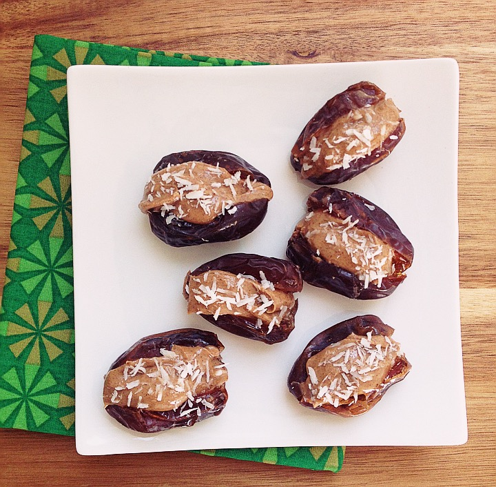 Medjool Dates Stuffed with Almond Butter and Coconut