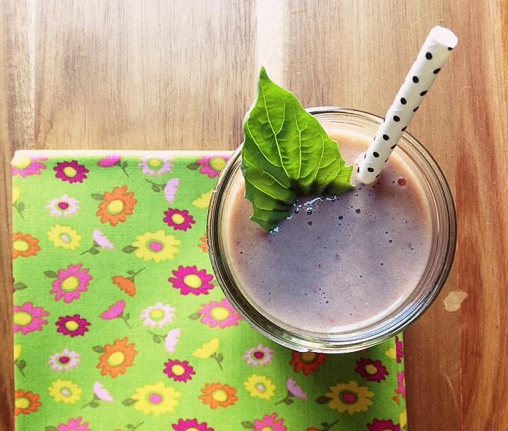 Strawberry Banana & Basil Summer Smoothie